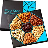 Holiday Nuts Gift Basket -Delightful Gourmet Food Gifts Prime Delivery -Christmas Birthday, Thanksgiving, Mothers & Fathers Day Fruit Gift Box Assortment, Men, Women, Families -Five Star Gift Baskets