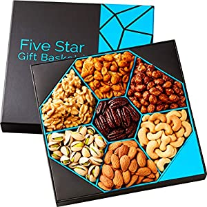 Five Star Gift Baskets, Holiday Nuts Gift Basket -Delightful Gourmet Food Gifts Prime Delivery -Birthday, Thanksgiving, Christmas, Mothers & Fathers Day Fruit Gift Box Assortment, Men, Women, Families