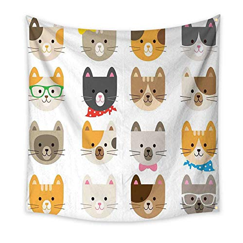 Animals Simple Tapestry Cats Costume with Glasses and Bow Tie Bandana Cartoon Artwork Craft Pattern Print Unique Tapestry Multicolor 63W x 63L -