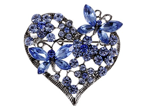 Blue Crystal Pin Brooch - Alilang Womens Floral Silvery Tone Crystal Rhinestone Insect Butterfly Love Flower Heart Brooch Pin