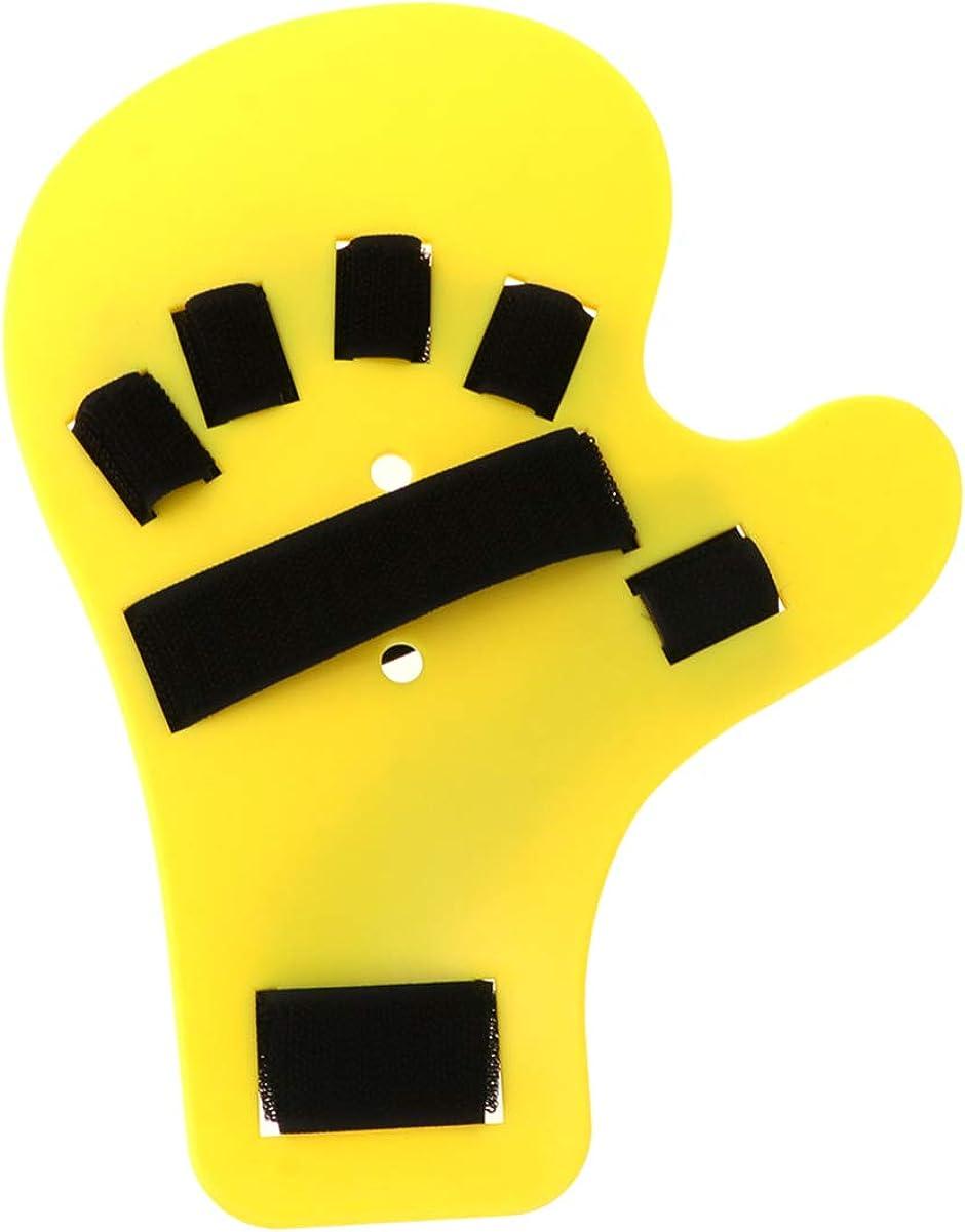 HEALLILY férula de Dedo diapasón Separador de Dedos Puntos ortopédicos Mano Entrenamiento de muñeca Dispositivo de ortesis (Mano Izquierda Amarilla)