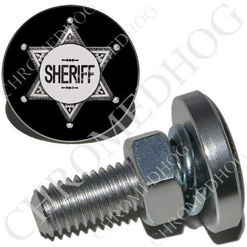 2 Polished Billet Aluminum - SM License Plate Frame Tag Bolts - Sheriff Badge B The Best Accessories for Cars and Motorcycles by ()