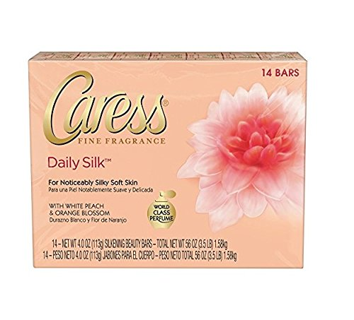 Caress Daily Silk 4 oz Beauty Bar White peach & Silky Orange blossom, - Blossom 4 Bar