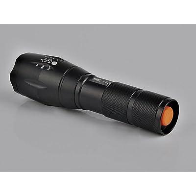 Jilesm mise au point réglable Zoom LED étanche lampe de poche (Noir)