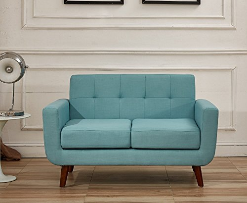 Container Direct Jenny Mid-century Modern Button Tufted Loveseat, Turquoise 51g9BibCyOL