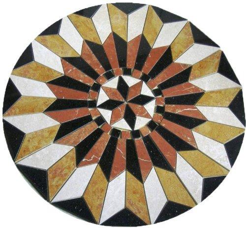 Tile Floor Medallion Marble Mosaic Star Rojo Alicante Design 36