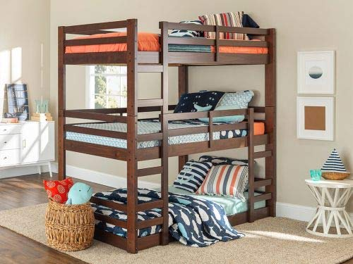 Walker Edison Furniture Company Solid Wood Triple Bunk Bed - White