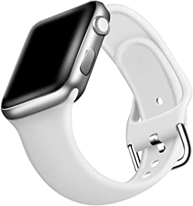 ONMROAD Sport Band Compatible with Apple Watch Bands 42mm Series 3 for Man, Soft Smooth Silicone Replacement Strap for Apple Watch Series 5 44mm Band for Women - White