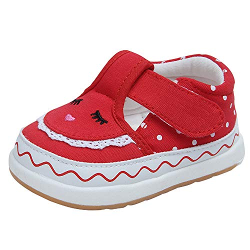 Baby Girls Cotton Embroidered Rubber Sole Outdoor Sneakers Princess Shoes First Walkers Shoes(15(Inside length-12.1cm)(12-15months),Red)