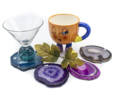 Set Collection Coaster Stone (Minerals Collection :: Natural Agate Beverage Coaster Cups Mat Gift Set of Four - Beautiful Slices with Clear Rubber Bumpers Feet (Assorted Colors))