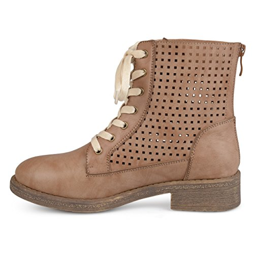 Kvinners Faux Skinn Laser-cut Blonder-up Boots Tan ...