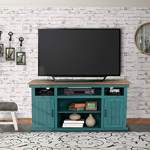 Living Essential Napa TV Entertainment Center for TVs up to 60 Inches, Farmhouse Style Wood TV Stand Console with 2 Barn Doors and Storage Shelves for Living Room (Green, -