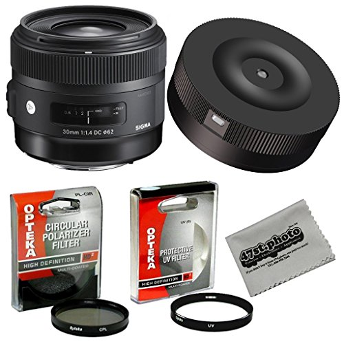Sigma 30mm f/1.4 DC HSM ART Lens with USB Firmware Lens Dock Kit for Canon and Opteka High Definition HD II UV & CPL Filter Accessory Set by Sigma