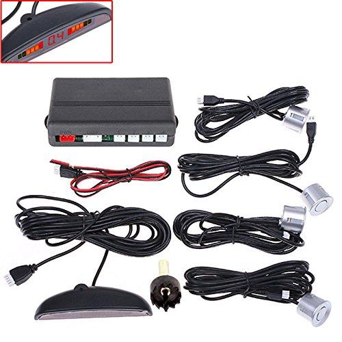 UltiSmart(TM)Car LED Parking Sensor Monitor Auto Reverse Backup Radar Detector System + Backlight Display + 4 Sensors Parking Assistance ()