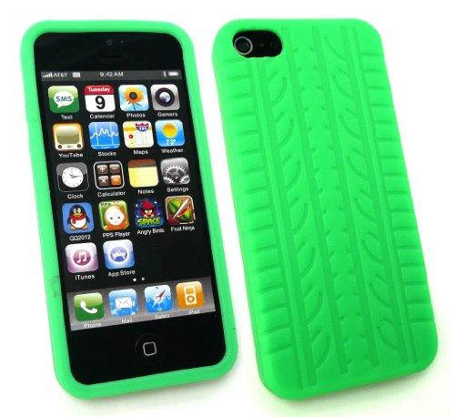 Emartbuy® Apple Iphone 5 5s Reifenprofil Silikon Skin / Schutzhülle / Case Grün