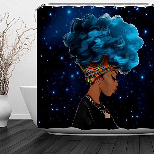 ALFALFA Afro African American Black Girl Shower Curtain Rock Watercolor Afro Hair Girl Lady Hip Pop Bathroom Decor  with Hooks, Waterproof Fabric, 60