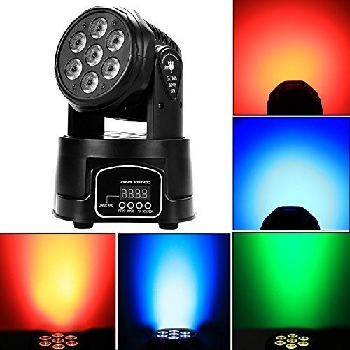 Marswell Stage lighting Moving Head Light, 7 x 10W RGBW 7 LED DJ Disco Light, Party Effect Lighting (9/14 Channel)
