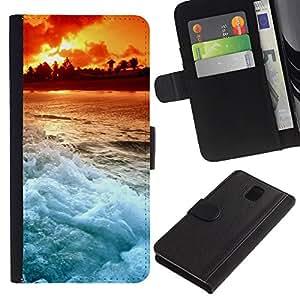 JackGot ( Tramonto Beautiful Nature 103 ) Samsung Galaxy Note 3 III la tarjeta de Crédito Slots PU Funda de cuero Monedero caso cubierta de piel