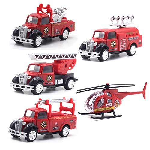 MinYn Fire Engine Rescue Truck Toy Set 1:55 Die-Cast Fire Ladder Truck with Pull Back Design Mini Model Gifts Toy Set for Kids (5 pieces)
