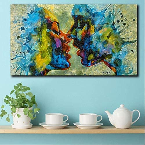 DIY Pintura Diamante 5D Kit Grande Cuadro Beso de amantes abstractos Completo Diamond Painting Adultos Niño Cristal Rhinestone Puzzle Punto Cruz Bordado Art Home Pared Decor R369 Square Drill,50x100cm