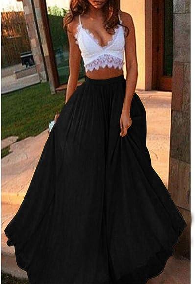 9c2e15975e Long Skirt Women Bohemian Hippie Boho Dresses Maxi Big Hem Solid Color Chiffon  Skirts (S. Back. Double-tap to zoom