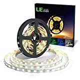 LE 5M 300 LEDs Strip Lights, Daylight White, 12V 5050 LED Tape, Ambient Lighting for Cabinet, Bookcase, Mirror and More
