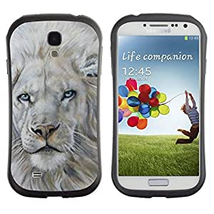 LASTONE PHONE CASE / Suave Silicona Caso Carcasa de Caucho Funda para Samsung Galaxy S4 I9500 / White Lion Snow Painting King Animal Fur