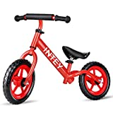 INTEY Ultra-Light Balance Bike,12 Inch No Pedal Kids Bicycle for 2-5 Year Olds, Aluminual Alloy Made, Adjustable Height, Anti-Vibration Structure, for Young Kids