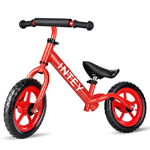 INTEY Ultra-Light Balance Bike,12 Inch No Pedal Kids Bicycle for 2-5 Year Olds, Toddler Balance Bike Made of Aluminium Alloy, Adjustable Height, Anti-Vibration Structure, for Young -