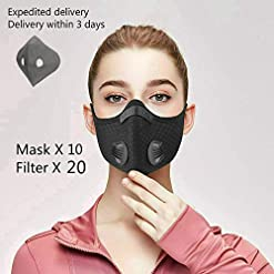 Anti pollution mask with replaceable filter and breathing valve, adjustable and reusable, suitable for outdoor activities and work
