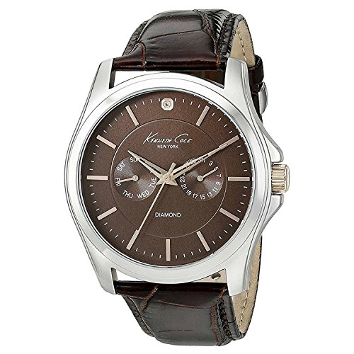 Kenneth Cole New York Men's 10022313 Genuine Diamond- Rock Out Analog Display Japanese Quartz Brown Watch