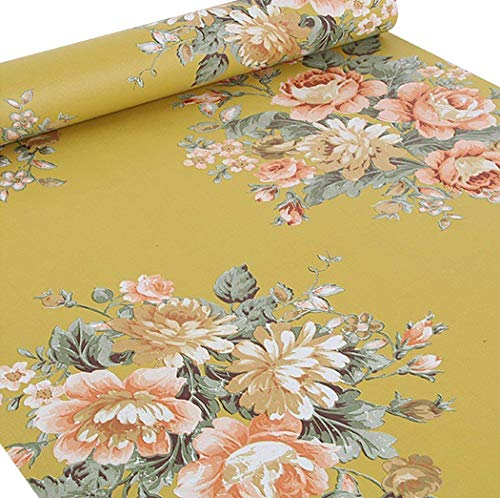 Walldecor1 Vintage Peony Floral Contact Paper Self Adhesive Shelf Liner Decorative Dresser Drawer Sticker 17.7 x 78.7 Inches (Yellow) ()
