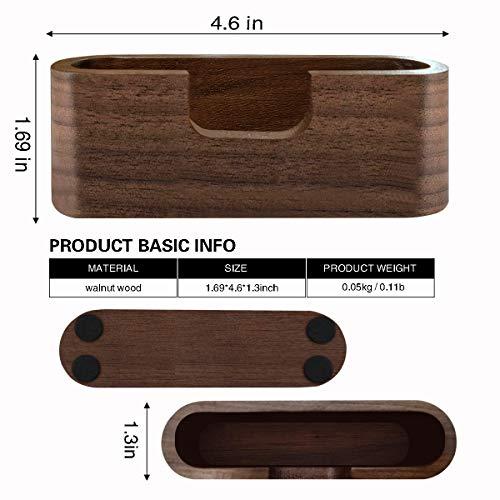 Topspeeder 1 Pack Business Card Display Holder, Brown Walnut Wood Card Case for Desk Desktop, Wooden Name Card Stand for Office, Name Card Holder for Tables Organizer Index Card Filing (Oval)
