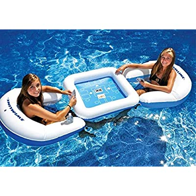 Pool Central 3-Piece Blue and White Inflatable Poker Game Deck and Chairs with Waterproof Playing Cards 33