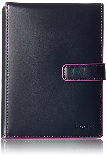 Lodis Women's Audrey Rfid Passport Wallet with Ticket Flap, Navy/Orchid, One Size