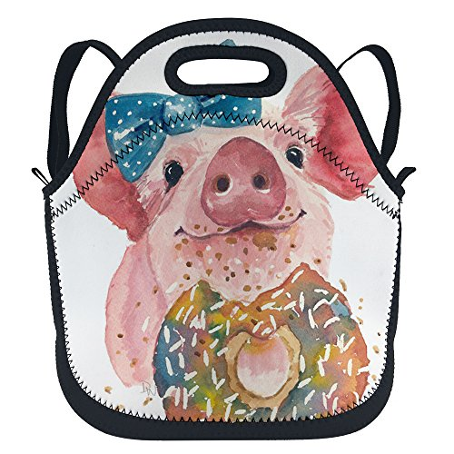 oFloral Pig Insulated Neoprene Lunch Tote Bag Cute Pig Doughnut Lunchbox School Backpack With Shoulder Strap For Children Kids Teens Boys Girls Women Blue Pink Yellow