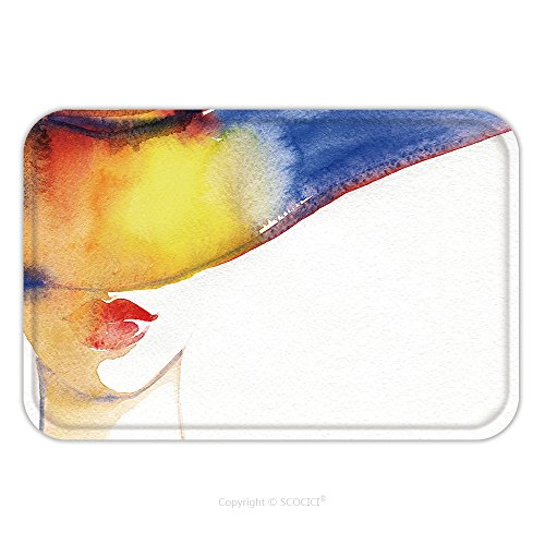 Flannel Microfiber Non-slip Rubber Backing Soft Absorbent Doormat Mat Rug Carpet Elegant Hat Beautiful Woman Face Fashion Watercolor Illustration Beauty Background 546094528 for - Fashion Face Australia