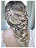 SWEETV Rose Gold Hair Vine - Braided Wedding Headband Bohemian Headpiece - 28.5 inch/72 cm Extra Long Crystal Pearl Bridal Hair Accessories for Brides Bridesmaids