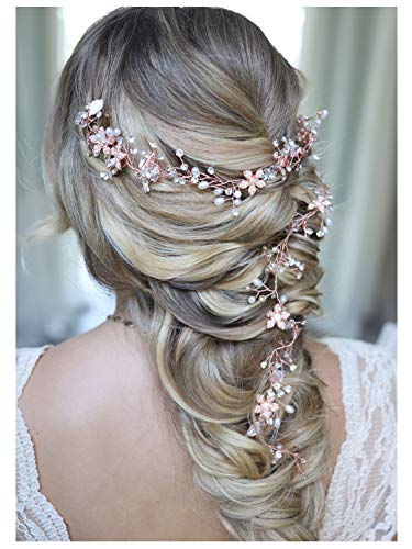 SWEETV Rose Gold Hair Vine - Braided Wedding Headband Bohemian Headpiece - 28.5 inch/72 cm Extra Long Crystal Pearl Bridal Hair Accessories for Brides Bridesmaids (Hair Braided To The Side With Weave)