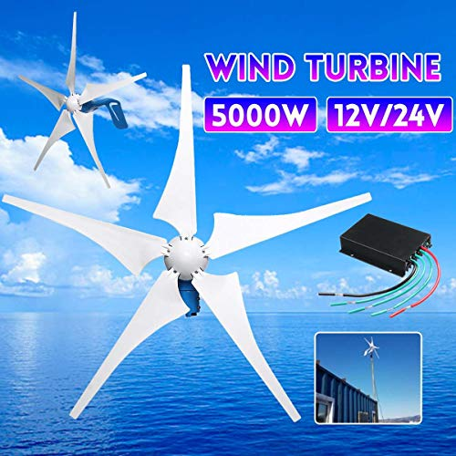 TQ 5000W Wind Generator 12V/24V 5 Wind Blades Wind-Power Electricity Generator with Controller Wind Turbine Blade,24v