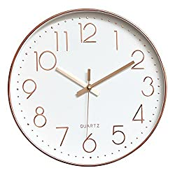 Lucky Monet Modern Wall Clock Classic Wall Clock Non-Ticking Battery Operated 12 Round Clock Arabic Numeral for Home Décor Bedroom Living Room Office Kitchen (Rose Gold)
