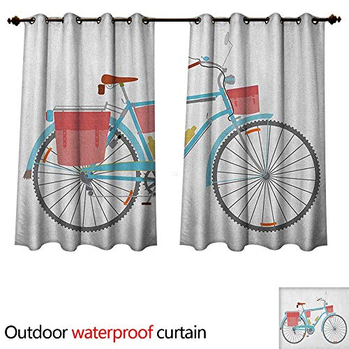 Embroidered Saddlebag - Anshesix Bicycle Home Patio Outdoor Curtain Classic Touring Bike with Derailleur and Saddlebags Healthy Active Lifestyle Travel W63 x L72(160cm x 183cm)