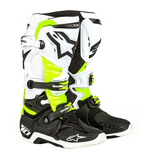 Alpinestars Tech 10 Adult Off-Road Motorcycle Shoes - Black/White/Yellow / 9