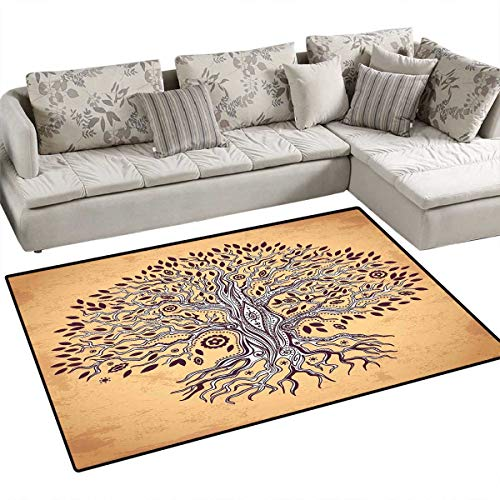 Tree of Life Kids Carpet Playmat Rug Vintage Inspired Modern Graphic of an Aged Plant with Swirling Branches Print Door Mats for Inside Non Slip Backing 40