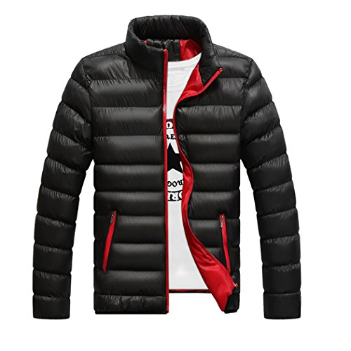 Real Spark(TM) Men Winter Stand Collar Padded Silm Fit Zip Puffer Jacket Coats Black L