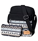 Leaper Canvas Messenger Bag Crossbody Bag Purse Shoulder Bag Black 9000