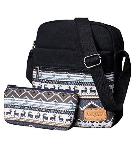 Canvas Messenger Bag Crossbody Bags for Women Purse Travel Shoulder Bag Pencil Case 2 PCS by Leaper (Black 9000)