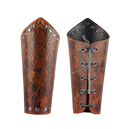 GelConnie Leather Gauntlet Wristband Medieval Bracers Viking Wrist Guards Archery Guards Bracers Wide Arm Armor Cuff for Women Men Halloween Renaissance Costume Props -