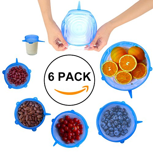 NEWBEA Silicone Stretch Lids Food Covers 6-Pack of Various Sizes Reusable Durable & Expandable to Fit Various Shapes of Containers for Keeping Food Fresh, Dishwasher