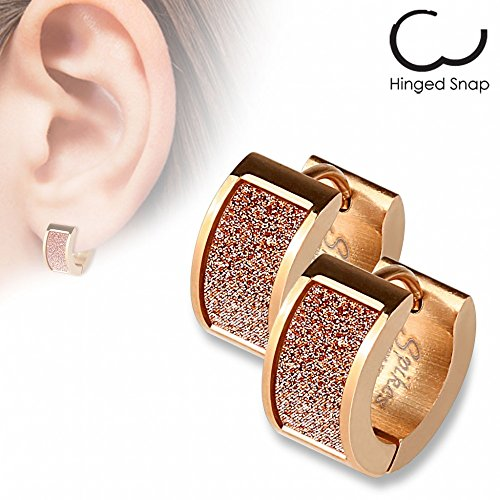 Monroe Square Chandelier - 20G Pair of Rose Gold IP over 316L Stainless Steel Earrings with Square Pink Sand Sparkle